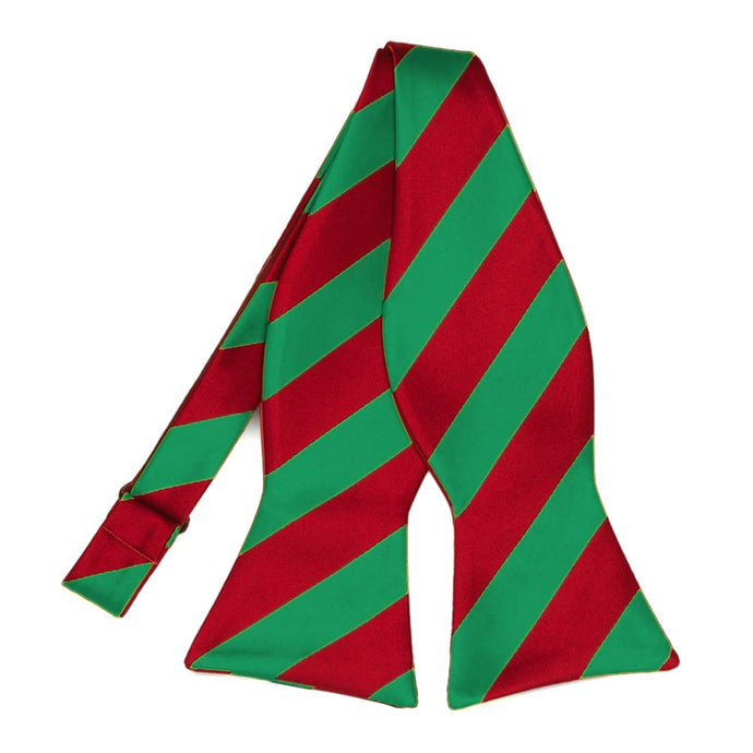 Red and Green Striped Self-Tie Bow Tie