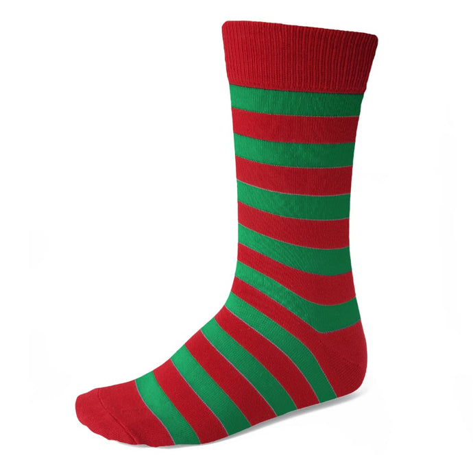 Men's Red and Green Striped Socks