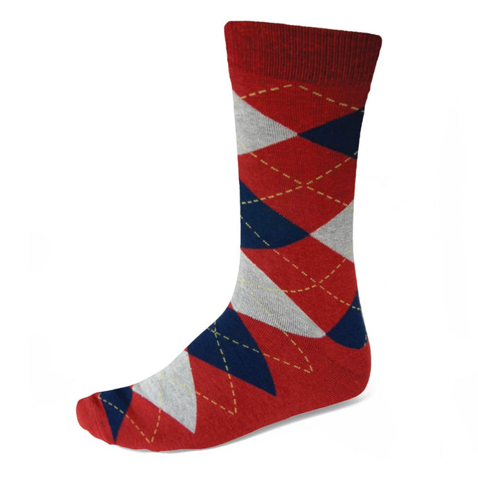 Men's Red and Navy Blue Argyle Socks