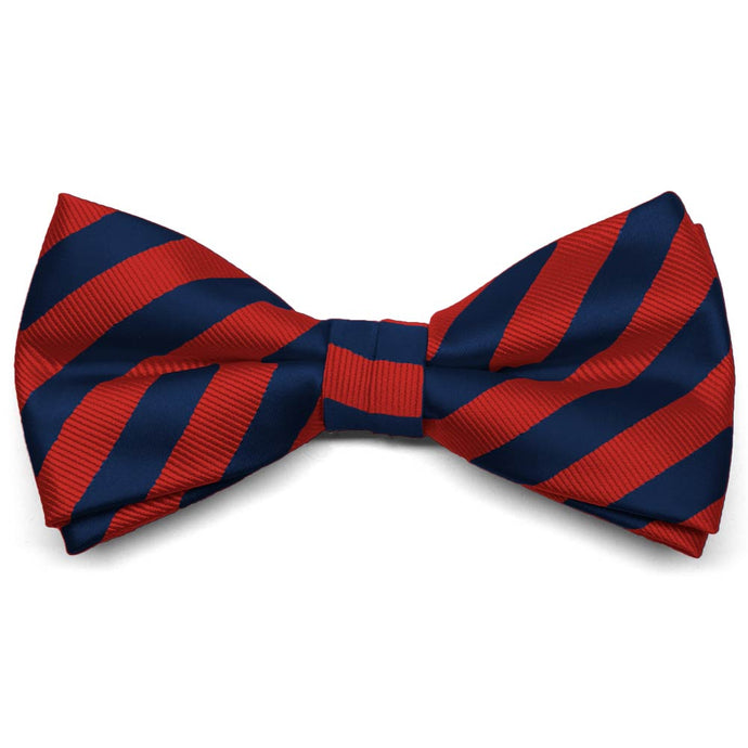Red and Navy Blue Formal Striped Bow Tie