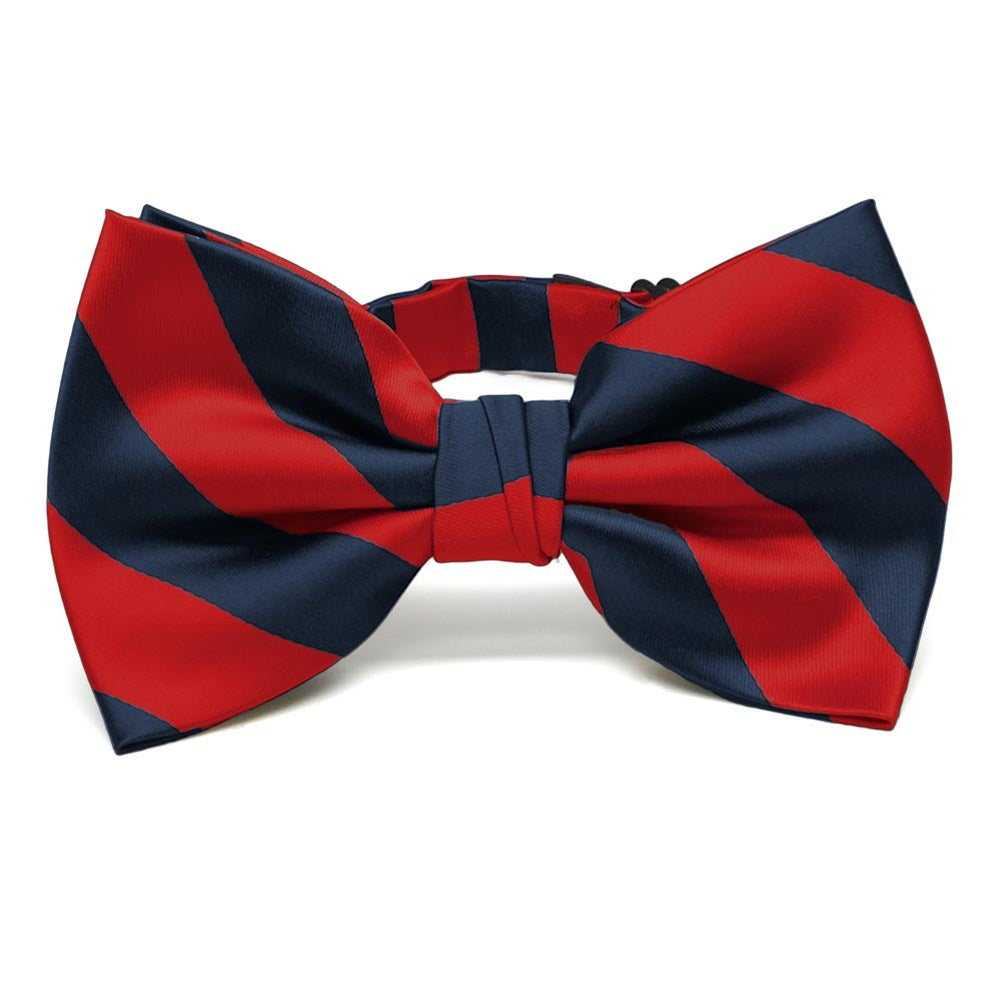 Red and Navy Blue Striped Bow Tie
