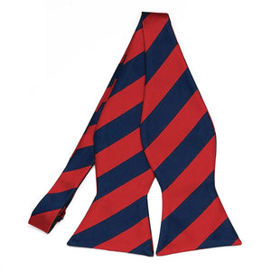Red and Navy Blue Striped Self-Tie Bow Tie