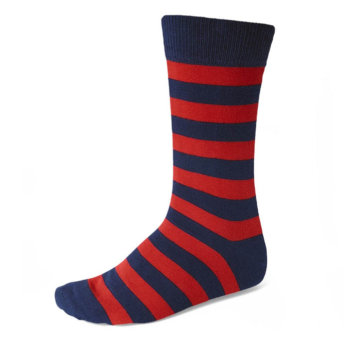 Men's Red and Navy Blue Striped Socks