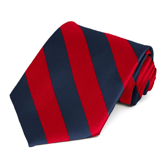 Red and Navy Blue Striped Tie