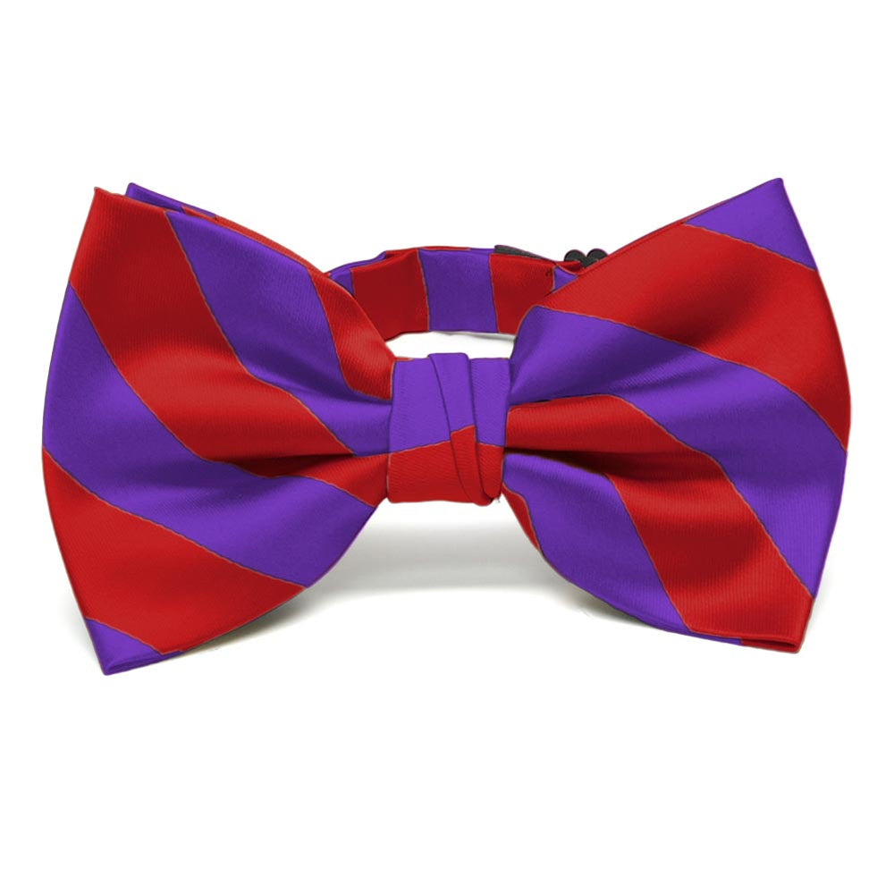 Red and Purple Striped Bow Tie