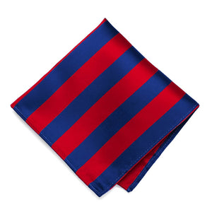 Red and Royal Blue Striped Pocket Square