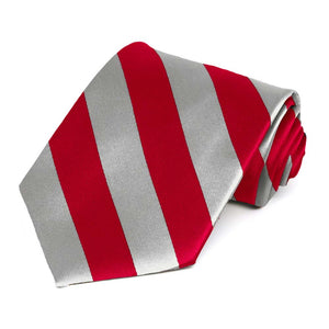 Red and Silver Extra Long Striped Tie