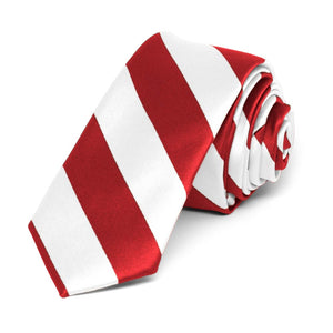 "Red and White Striped Skinny Tie, 2"" Width"
