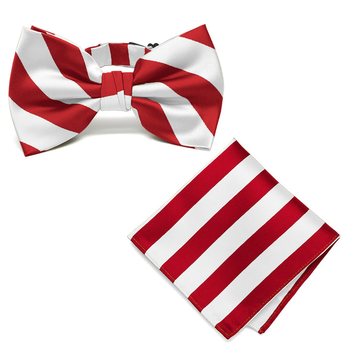 Red and White Striped Bow Tie and Pocket Square Set