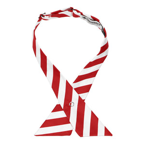 Red and White Striped Crossover Tie