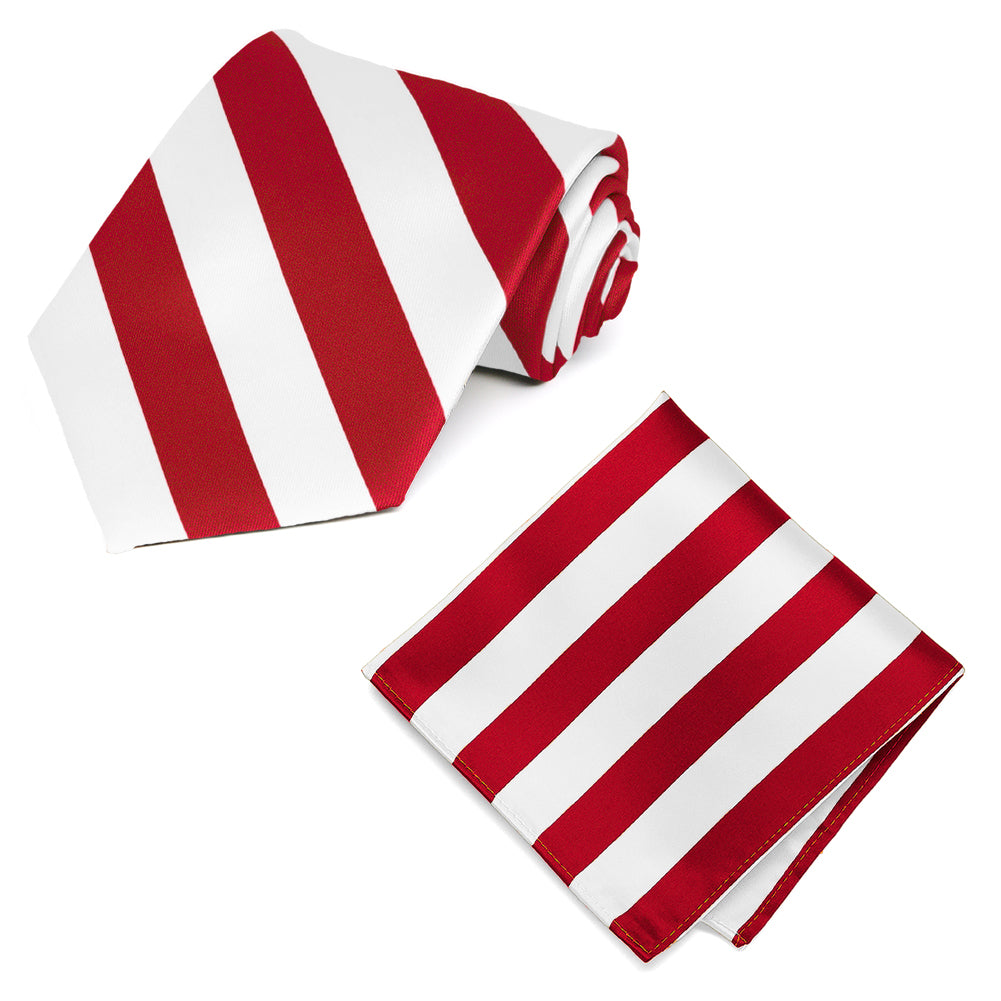 Red and White Striped Tie and Pocket Square Set
