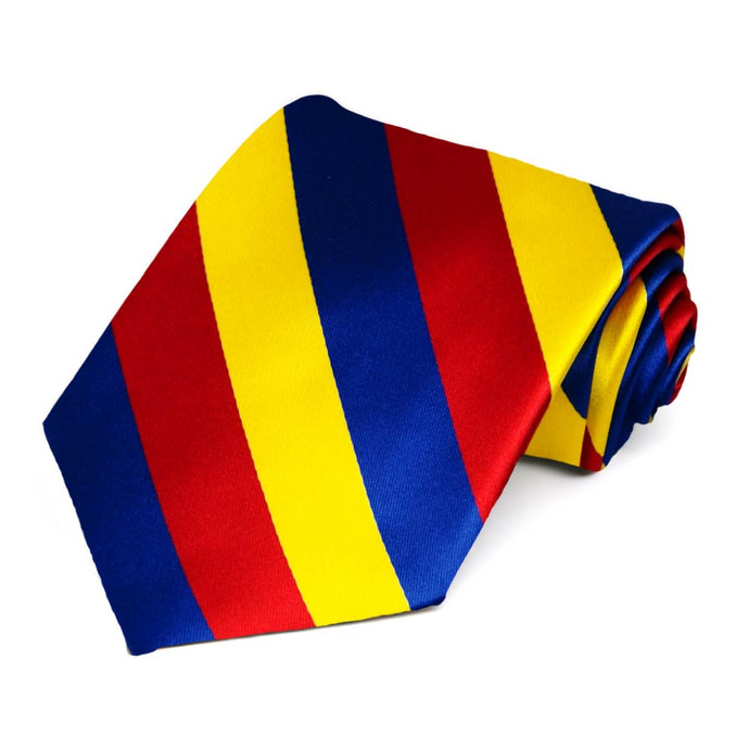 Red, Royal Blue and Yellow Striped Tie
