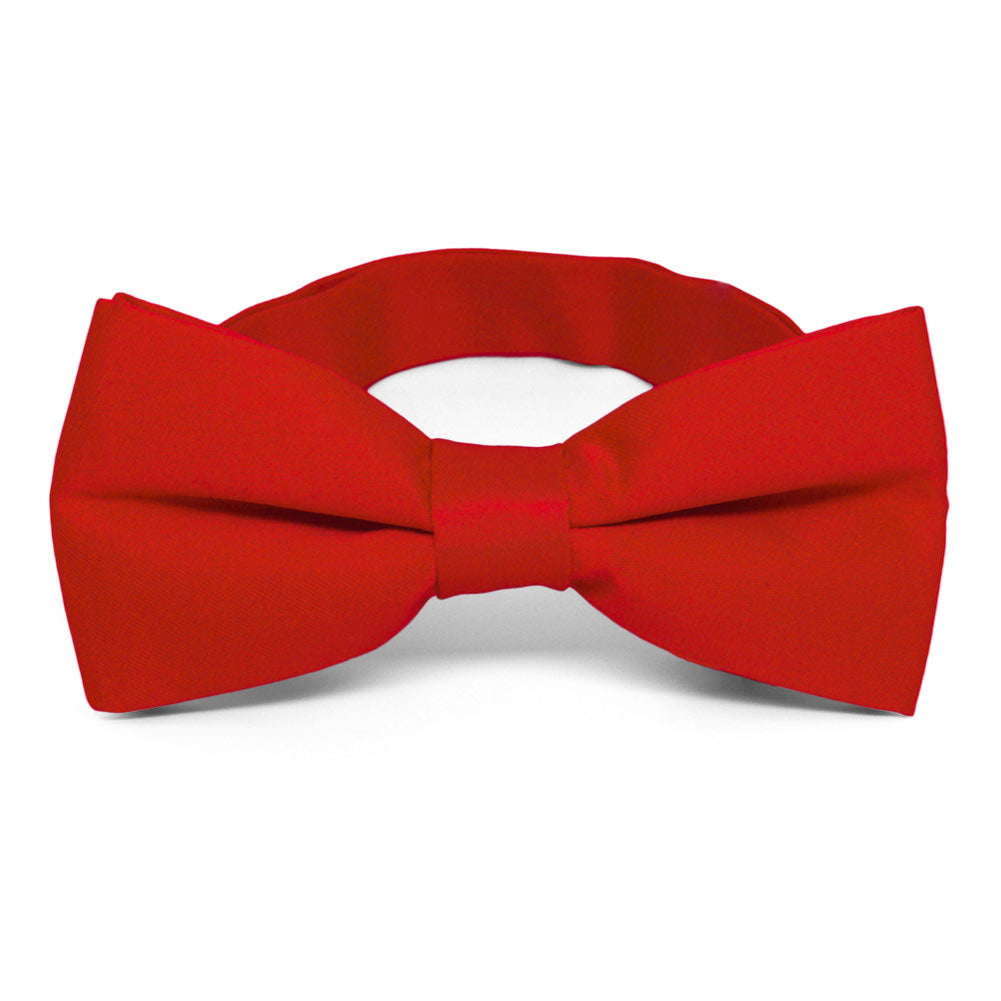 Boys Skinny Red Clip On Cotton Bow Tie
