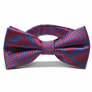 Red Kimberly Chevron Stripe Band Collar Bow Tie