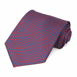 Red Kimberly Chevron Stripe Extra Long Necktie