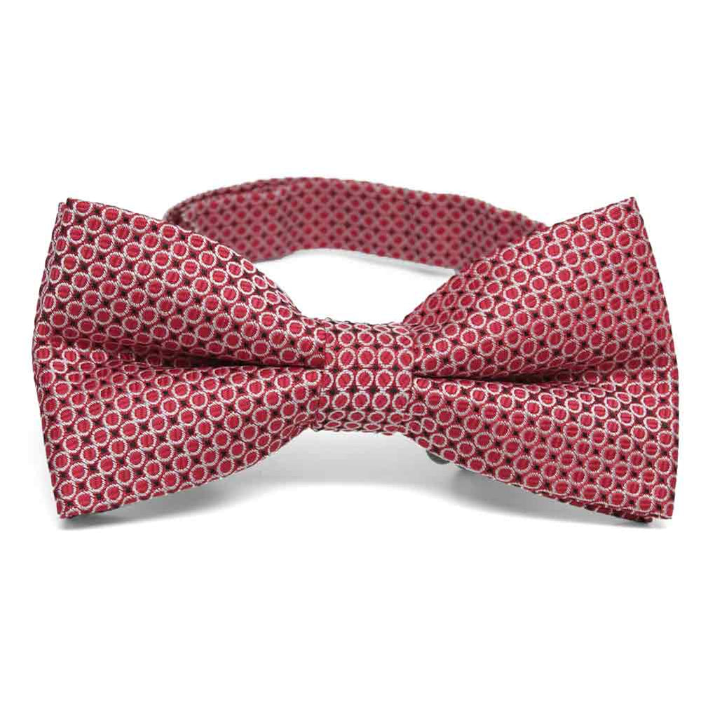 Red Henry Grain Pattern Band Collar Bow Tie