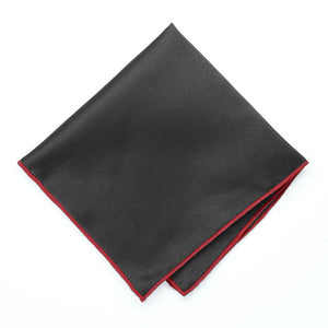 Red Tipped Black Pocket Square
