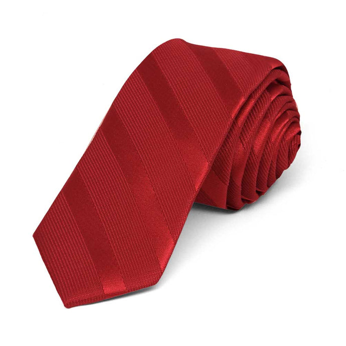 Red Elite Striped Skinny Necktie, 2