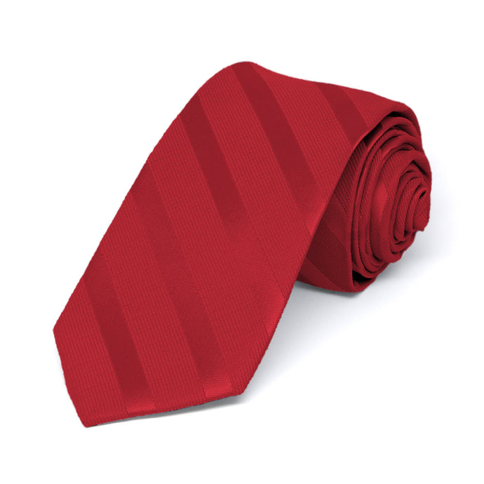 Red Elite Striped Slim Necktie, 2.5