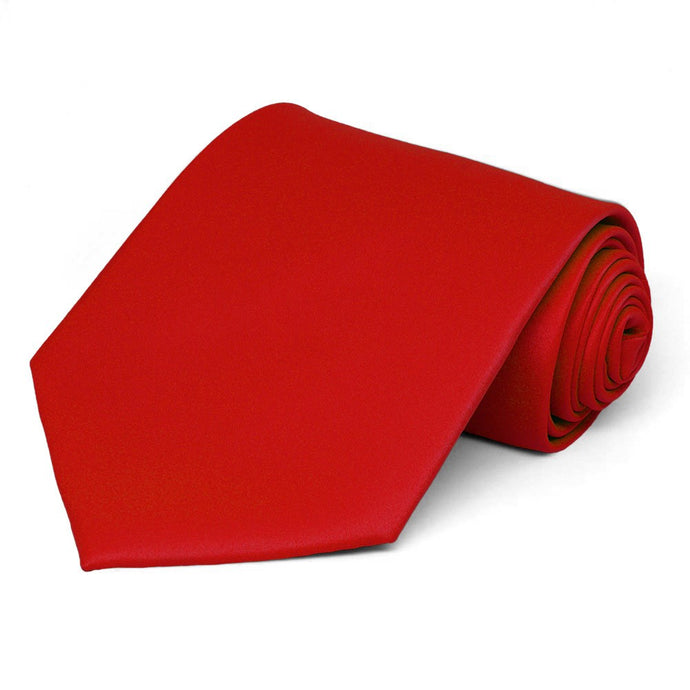 Red Extra Long Solid Color Necktie