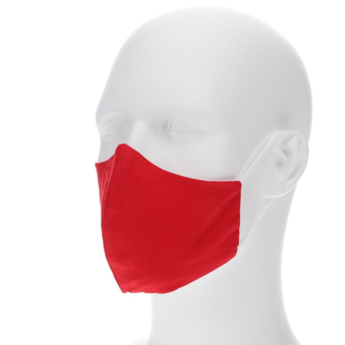 Red face mask on a mannequin with filter pocket