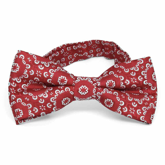 Red Emma Floral Pattern Band Collar Bow Tie