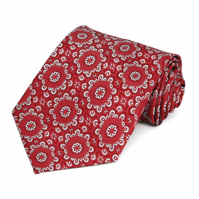 Red Emma Floral Pattern Extra Long Necktie