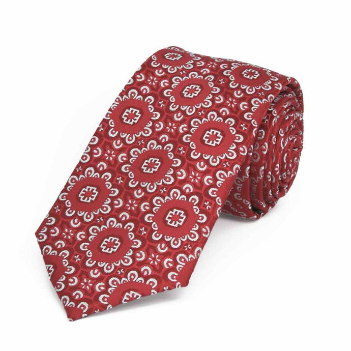 Red Emma Floral Pattern Slim Necktie, 2.5