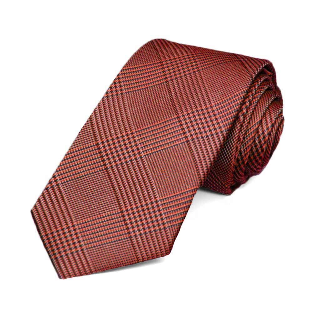 Red Jamestown Glen Plaid Slim Necktie