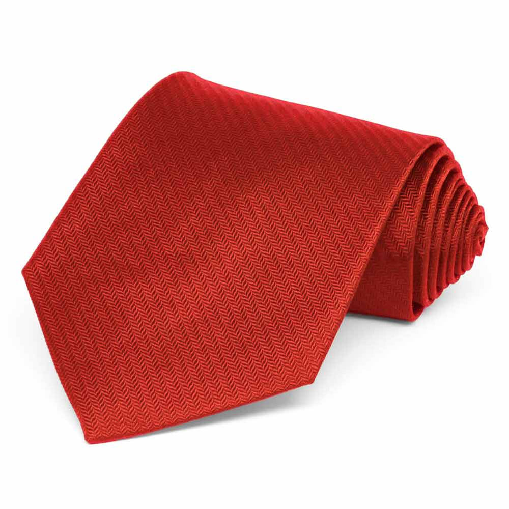 Red Herringbone Silk Extra Long Necktie