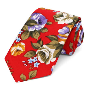 Rolled red copper floral narrow tie