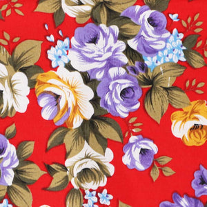 Red copper floral pattern fabric
