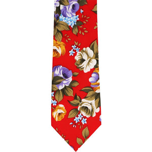 Unrolled red copper floral narrow tie