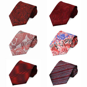 Red Pattern Neckties, 6-Pack