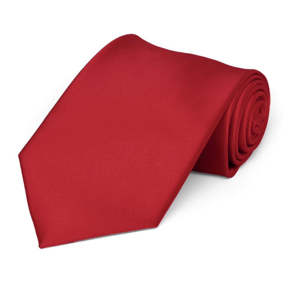 Red Premium Extra Long Solid Color Necktie