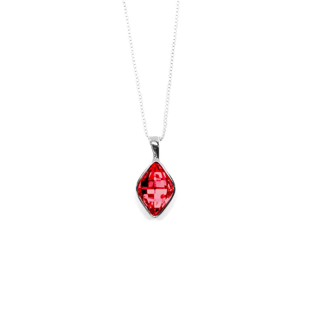 Red Rhombus Shaped Crystal Necklace