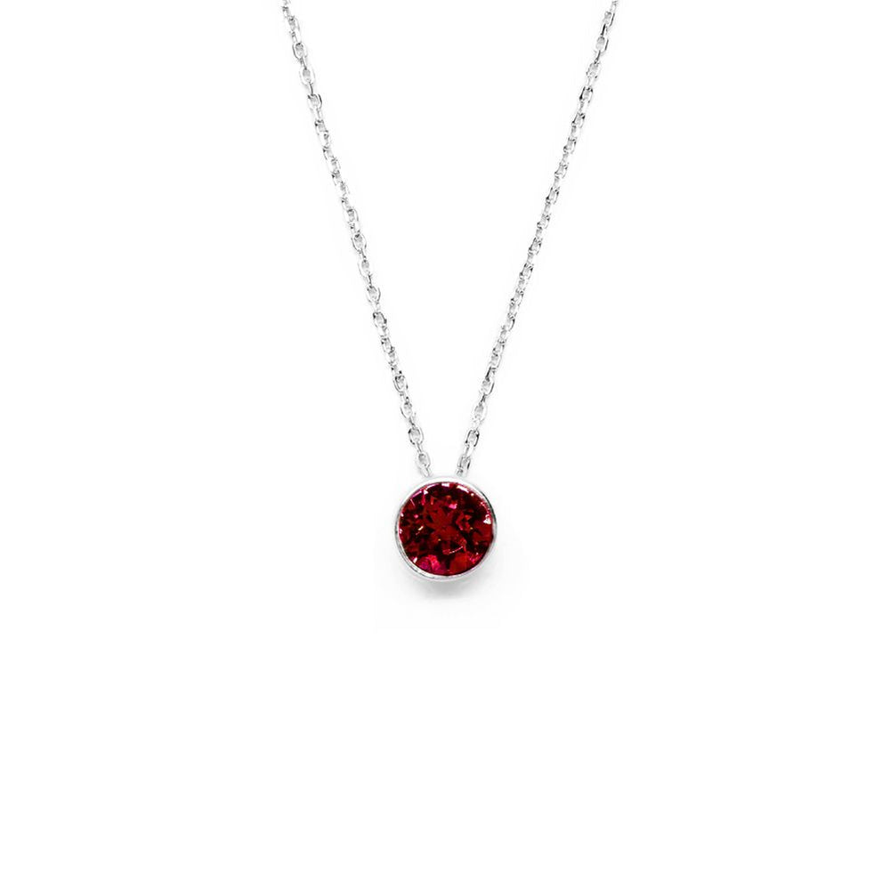 Dark Red Round Crystal Necklace