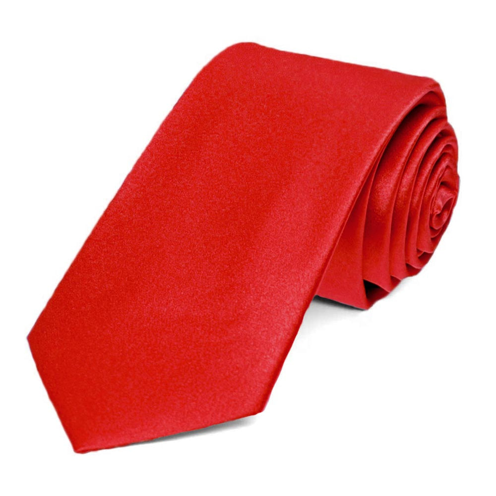 Red Silk Slim Necktie