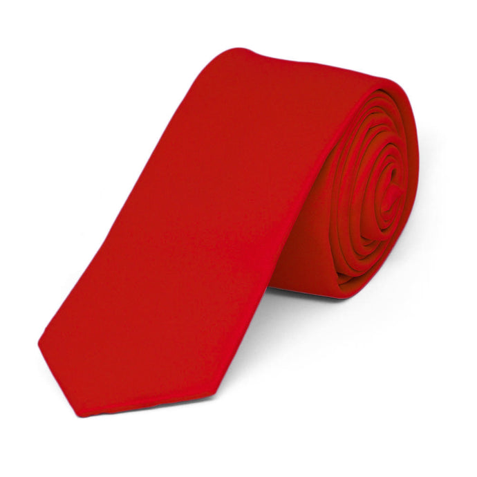Red Skinny Solid Color Necktie, 2
