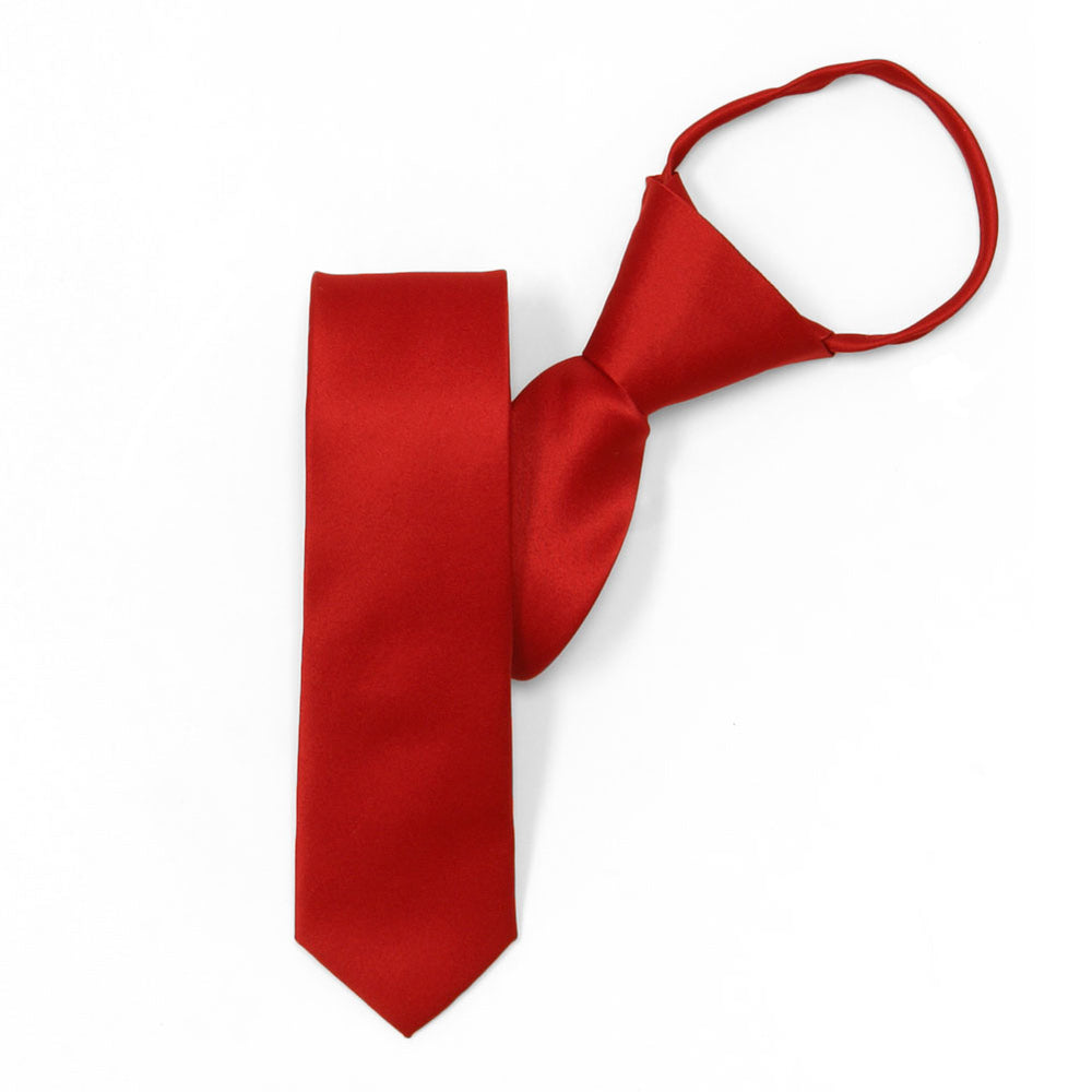 Skinny Red Solid Color Zipper Tie