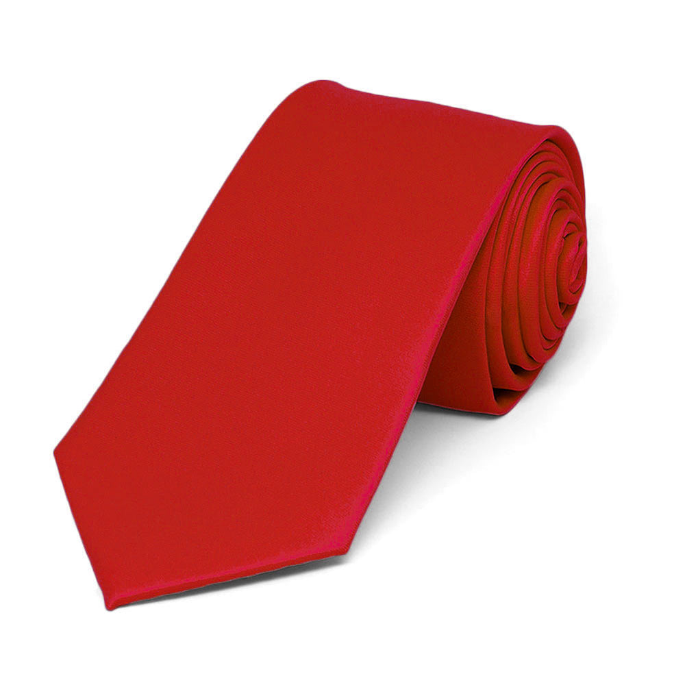 Red Slim Solid Color Necktie, 2.5