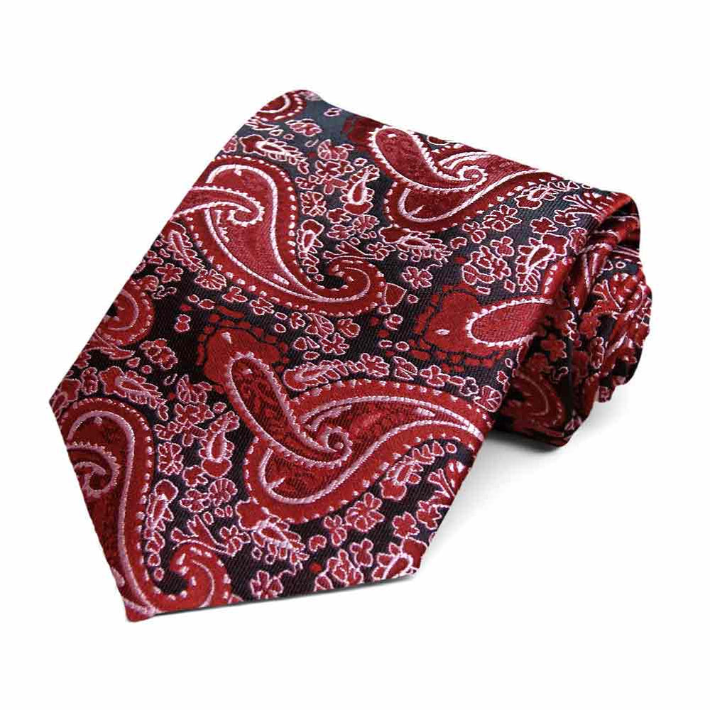 Red Spencer Paisley Necktie