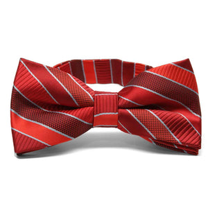Red Douglas Stripe Band Collar Bow Tie