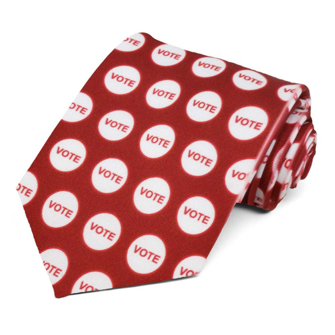 Red vote sticker necktie