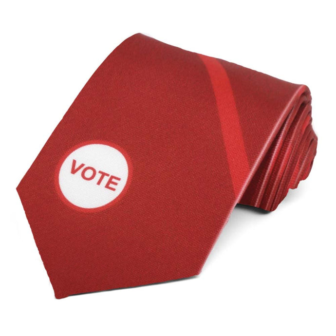 Red vote striped tie