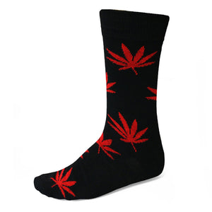 Red and black weed leaf sock
