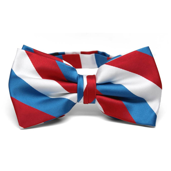 Red, White and American Blue Striped Bow Tie