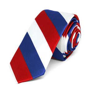 "Red, White and Blue Striped Skinny Tie, 2"" Width"