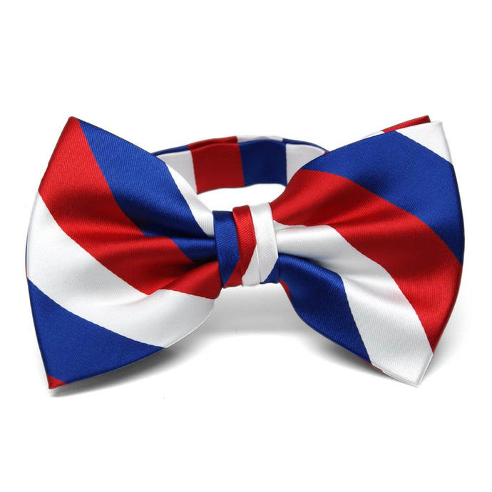 Red, White and Blue Striped Bow Tie