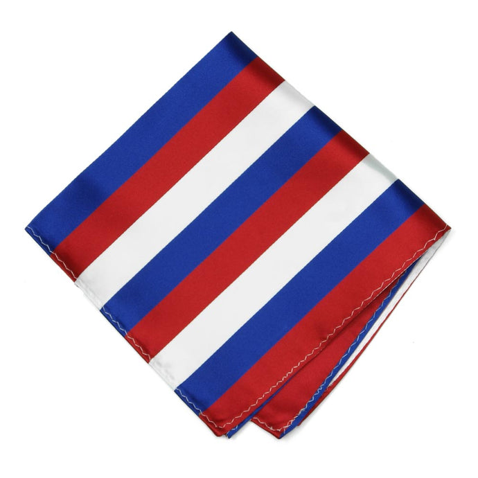 Red, White and Blue Striped Pocket Square